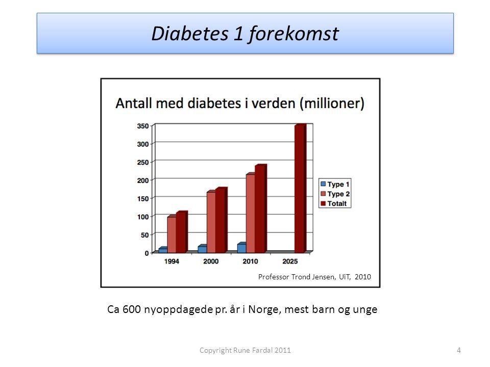 Diabetes 1 forekomst Professor Trond Jensen, UiT, 2010. Ca 600 nyoppdagede pr. år i Norge, mest barn og unge.