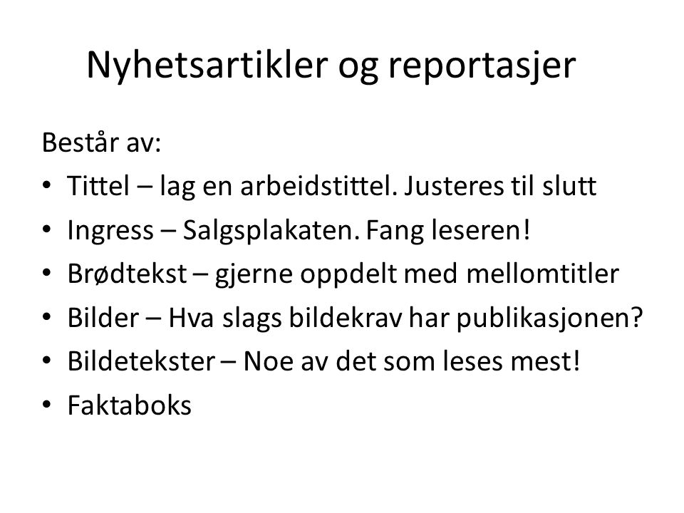 Nyhetsartikler og reportasjer