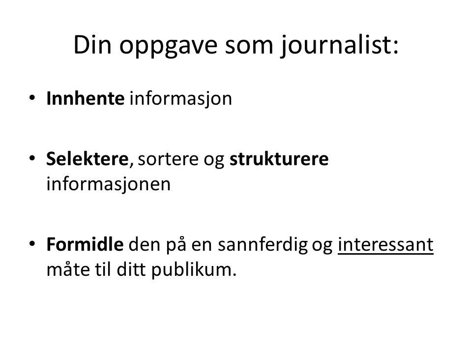 Din oppgave som journalist: