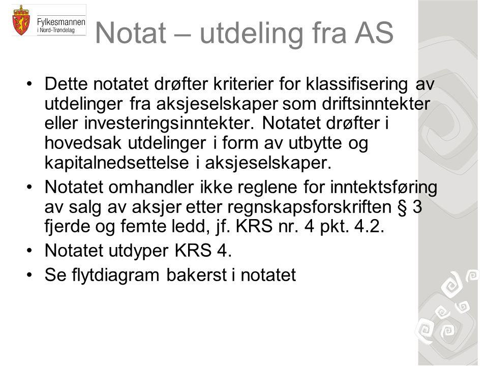 Notat – utdeling fra AS