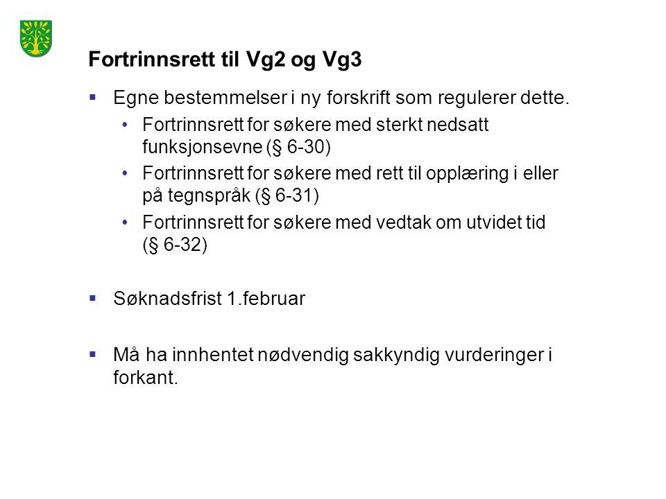 Fortrinnsrett til Vg2 og Vg3