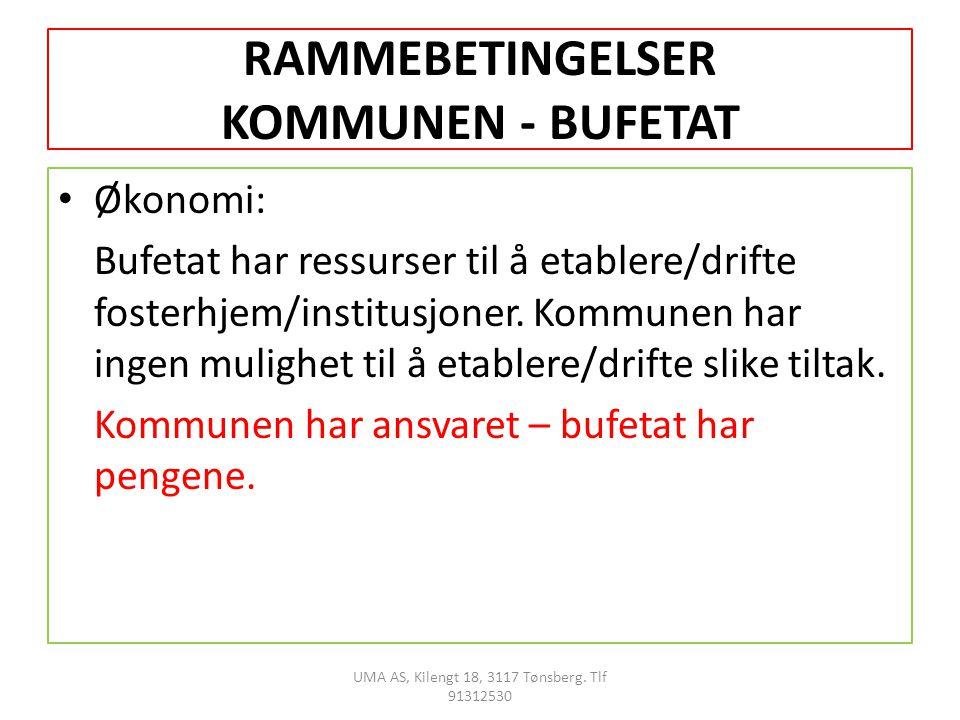 RAMMEBETINGELSER KOMMUNEN - BUFETAT