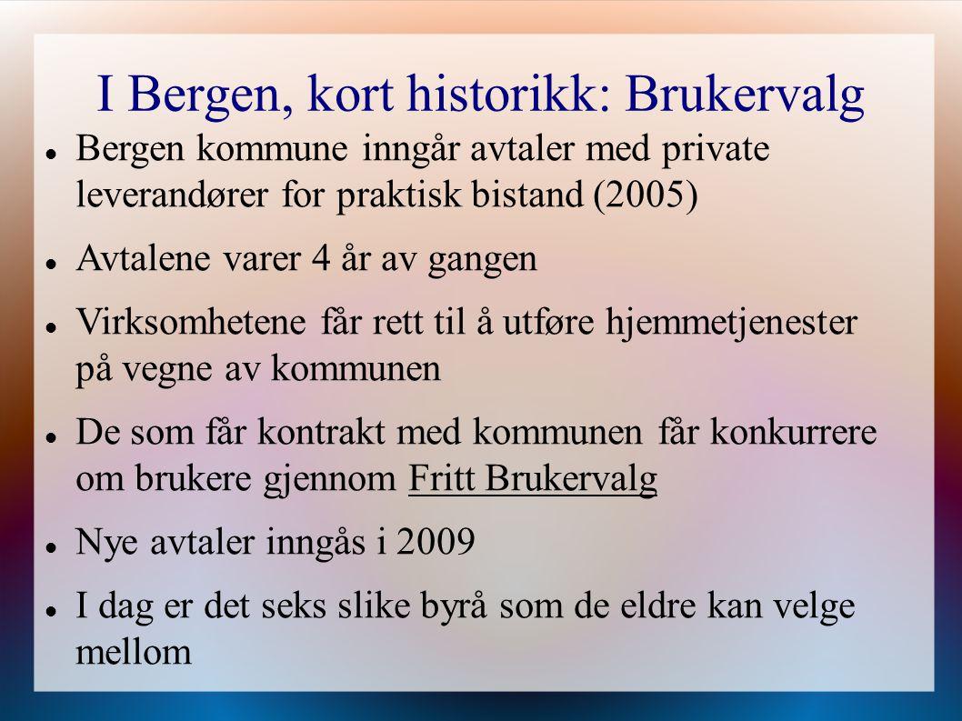 I Bergen, kort historikk: Brukervalg