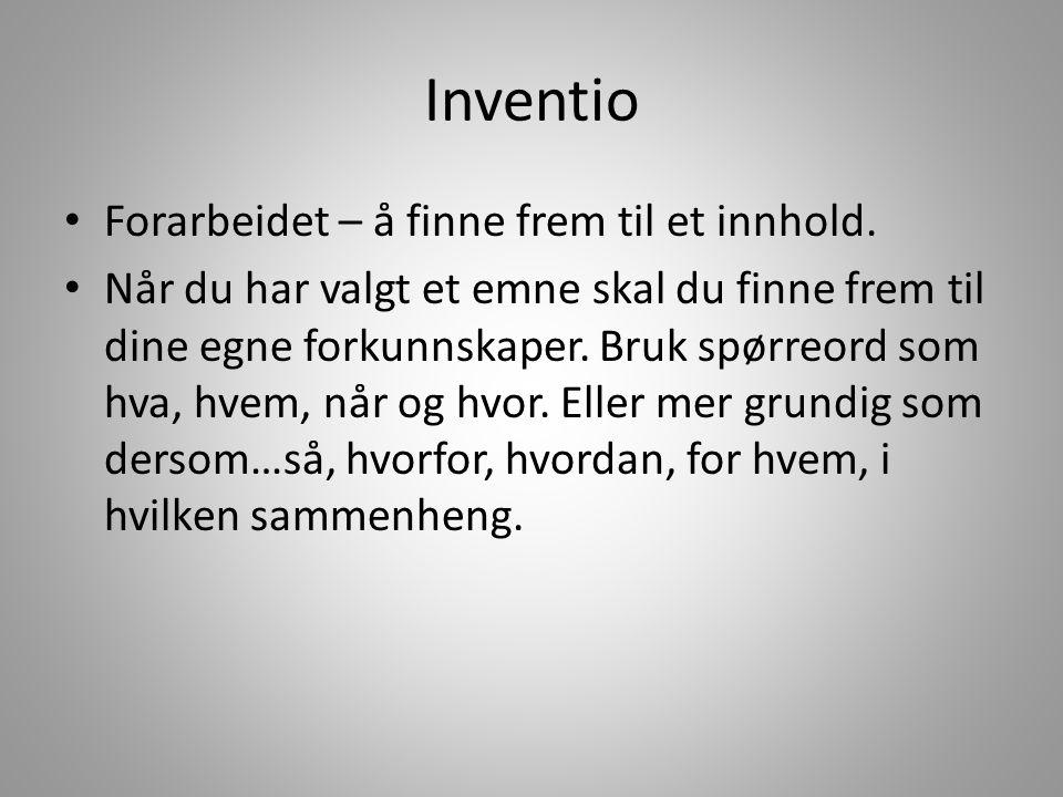 Inventio Forarbeidet – å finne frem til et innhold.