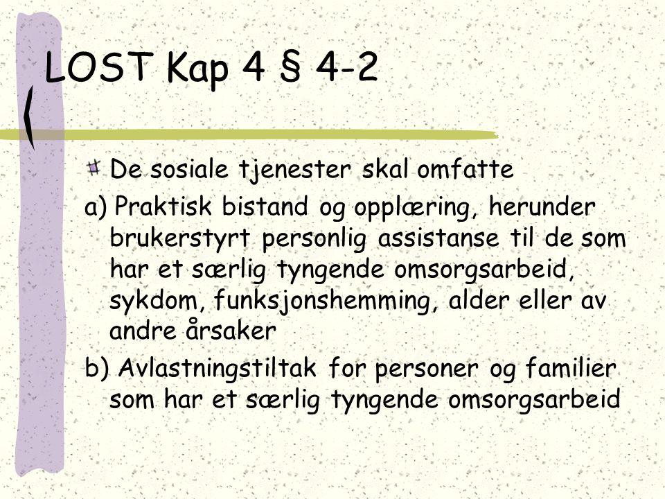 LOST Kap 4 § 4-2 De sosiale tjenester skal omfatte
