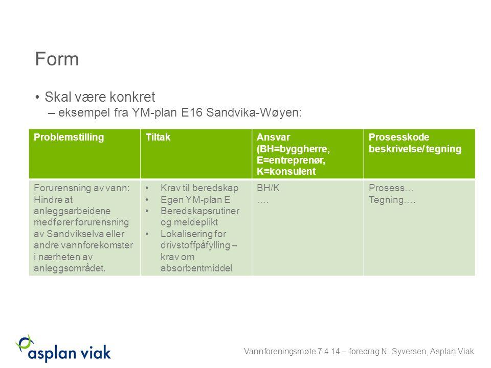 Form Skal være konkret – eksempel fra YM-plan E16 Sandvika-Wøyen: