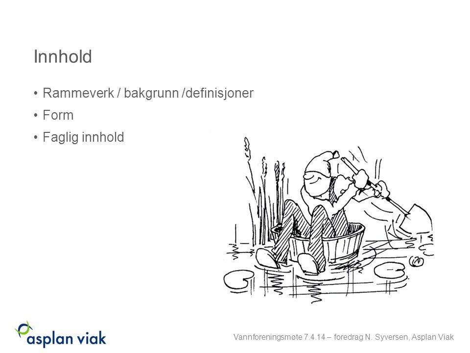 Innhold Rammeverk / bakgrunn /definisjoner Form Faglig innhold