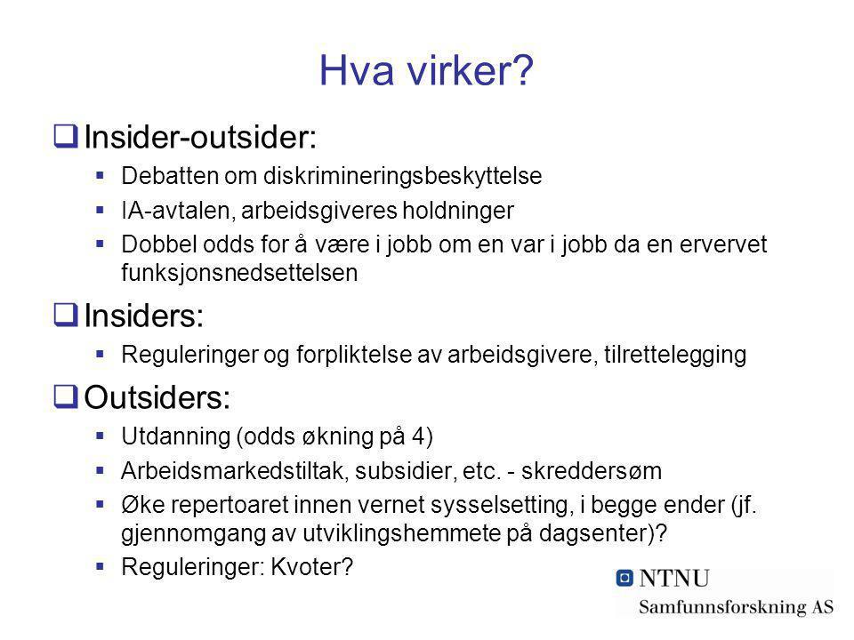 Hva virker Insider-outsider: Insiders: Outsiders: