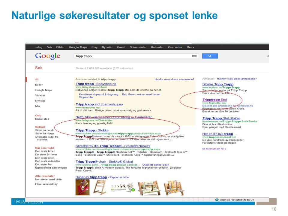 Naturlige søkeresultater og sponset lenke