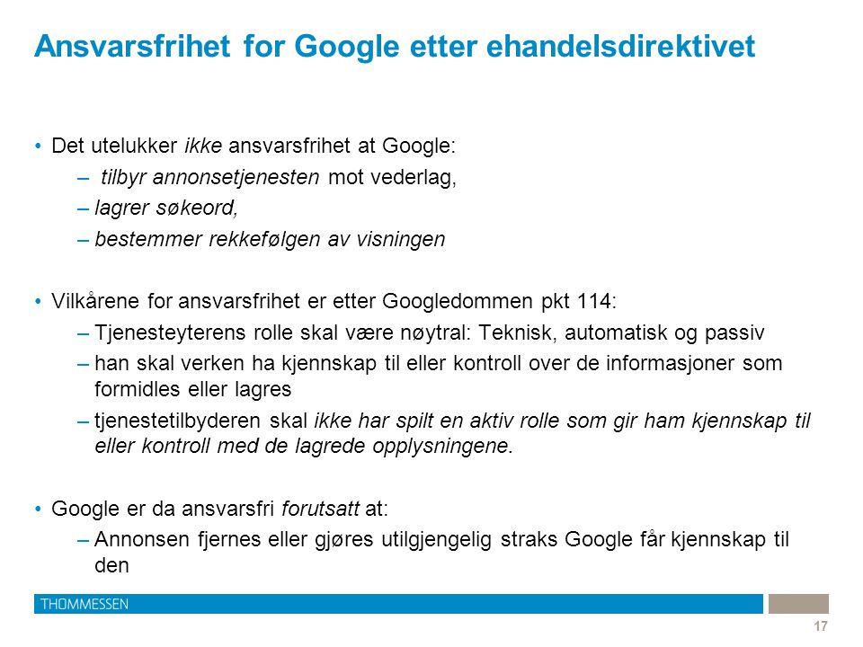 Ansvarsfrihet for Google etter ehandelsdirektivet
