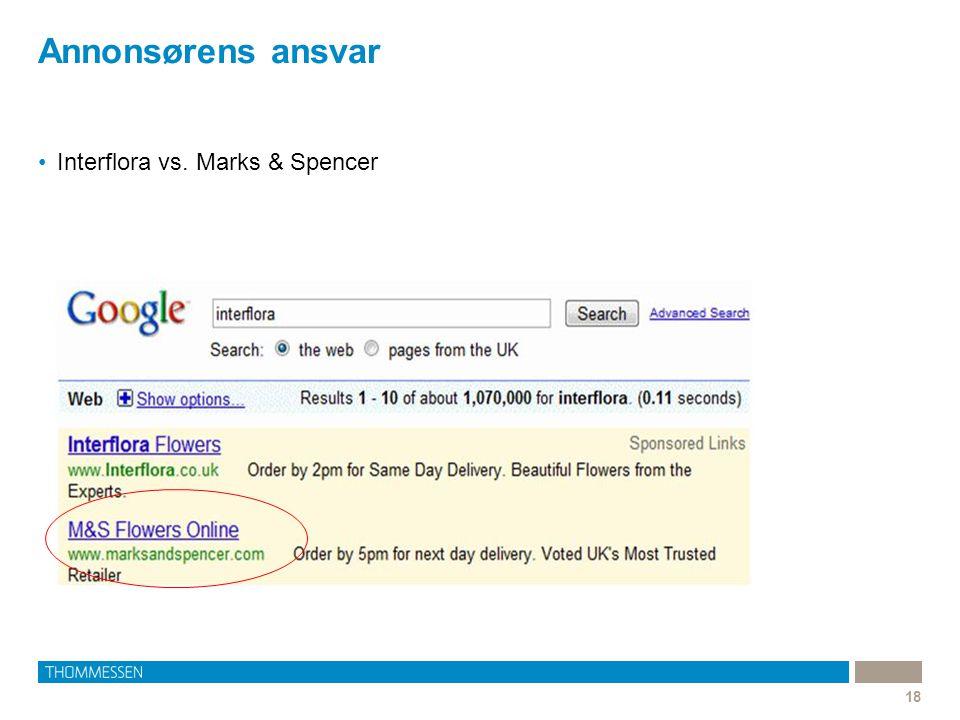 Annonsørens ansvar Interflora vs. Marks & Spencer