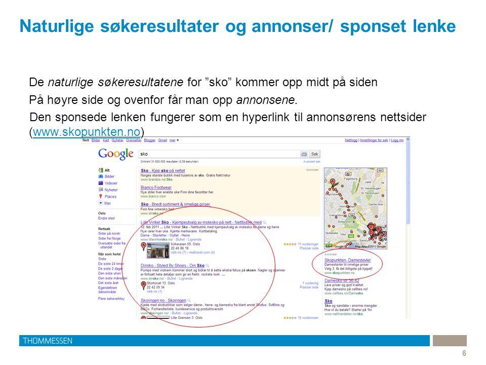 Naturlige søkeresultater og annonser/ sponset lenke