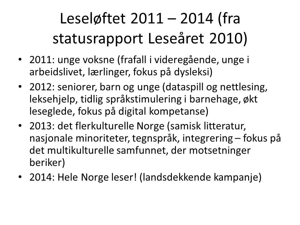 Leseløftet 2011 – 2014 (fra statusrapport Leseåret 2010)