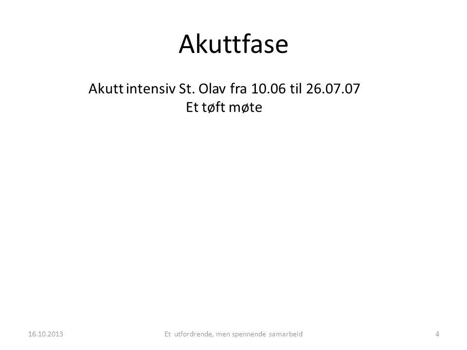 Akuttfase Akutt intensiv St. Olav fra 10.06 til 26.07.07 Et tøft møte