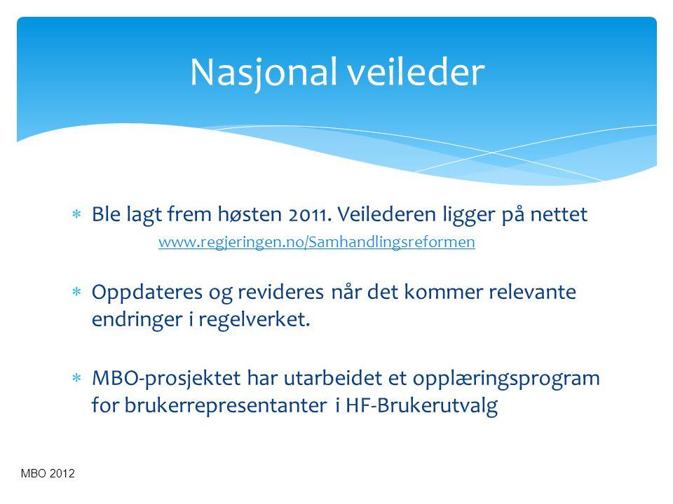 Nasjonal veileder Ble lagt frem høsten 2011. Veilederen ligger på nettet. www.regjeringen.no/Samhandlingsreformen.