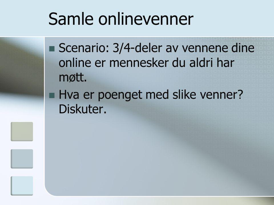 Samle onlinevenner Scenario: 3/4-deler av vennene dine online er mennesker du aldri har møtt.