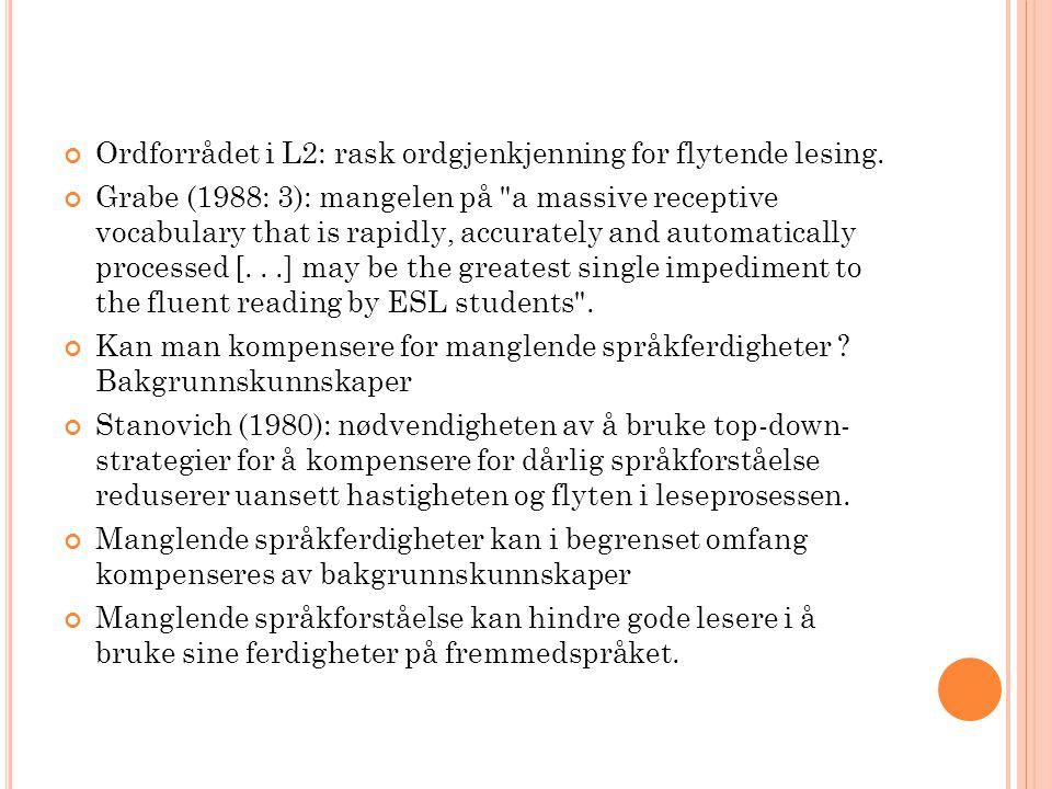 Ordforrådet i L2: rask ordgjenkjenning for flytende lesing.