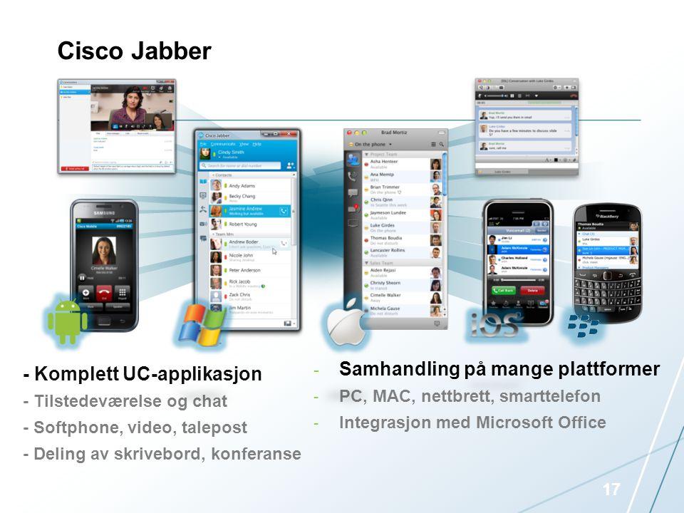 Cisco Jabber Samhandling på mange plattformer