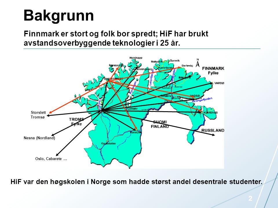 Bakgrunn Finnmark er stort og folk bor spredt; HiF har brukt avstandsoverbyggende teknologier i 25 år.