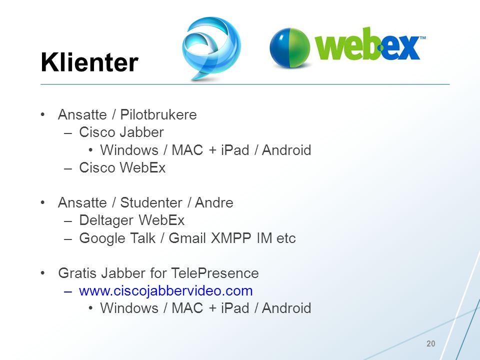 Klienter Ansatte / Pilotbrukere Cisco Jabber