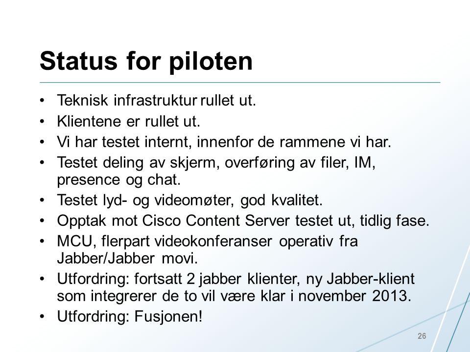 Status for piloten Teknisk infrastruktur rullet ut.