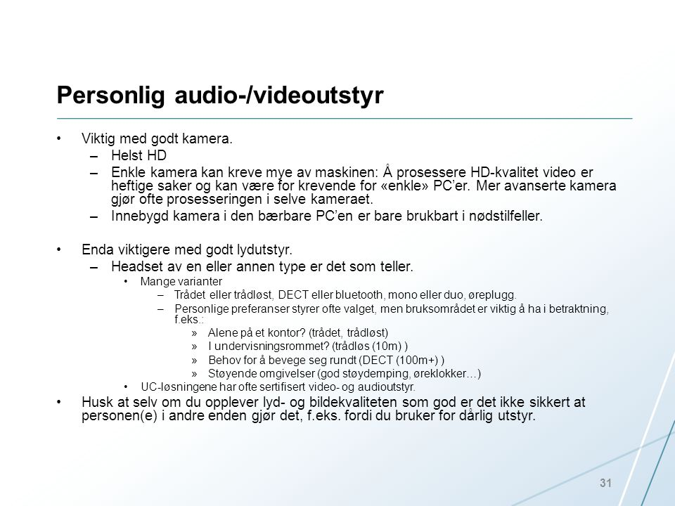 Personlig audio-/videoutstyr