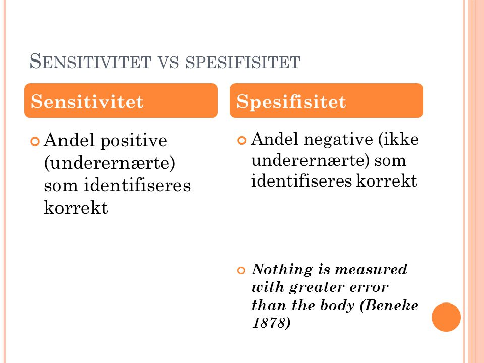 Sensitivitet vs spesifisitet