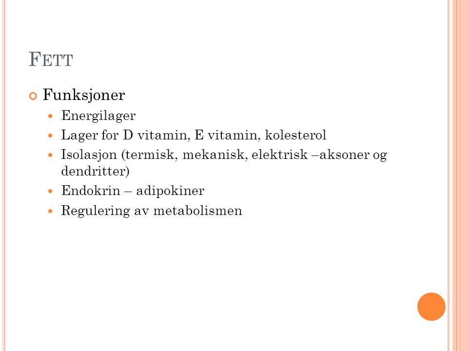 Fett Funksjoner Energilager Lager for D vitamin, E vitamin, kolesterol