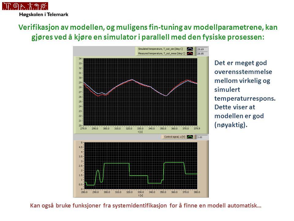 Verifikasjon av modellen, og muligens fin-tuning av modellparametrene, kan gjøres ved å kjøre en simulator i parallell med den fysiske prosessen: