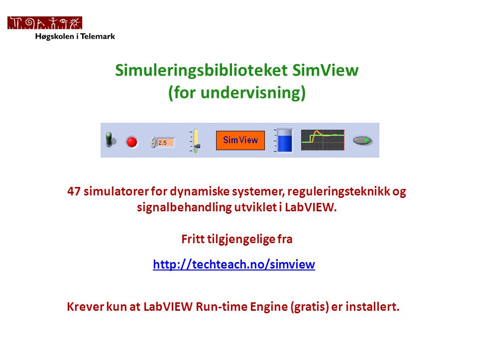 Simuleringsbiblioteket SimView (for undervisning)