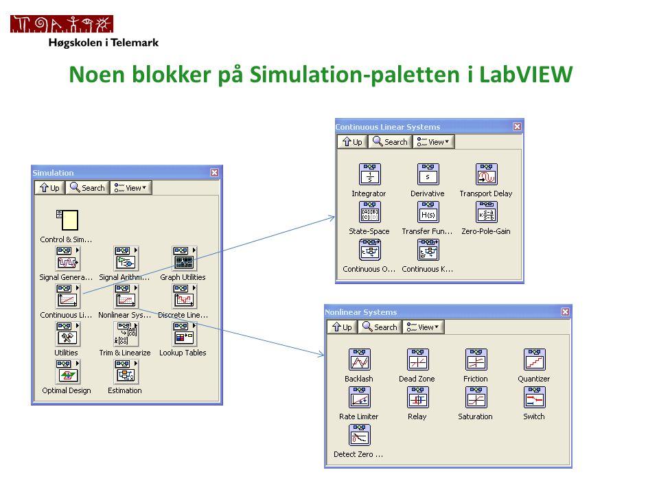 Noen blokker på Simulation-paletten i LabVIEW