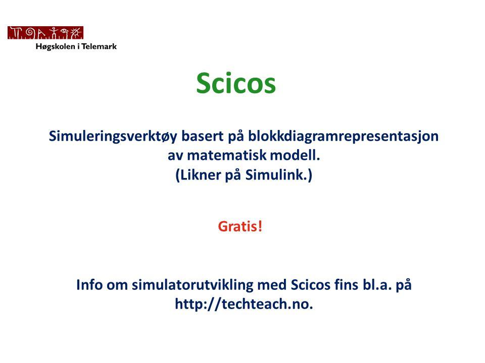 Scicos Simuleringsverktøy basert på blokkdiagramrepresentasjon av matematisk modell. (Likner på Simulink.)