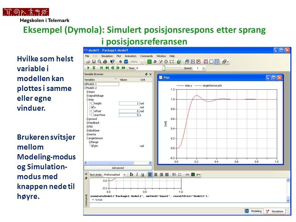 Eksempel (Dymola): Simulert posisjonsrespons etter sprang i posisjonsreferansen
