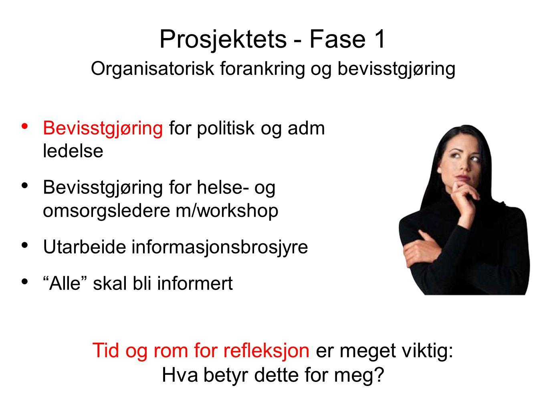 Prosjektets - Fase 1 Organisatorisk forankring og bevisstgjøring. Bevisstgjøring for politisk og adm ledelse.