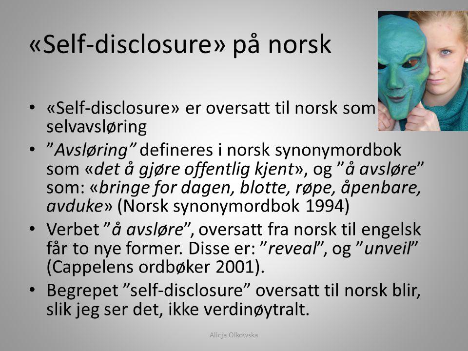 «Self-disclosure» på norsk