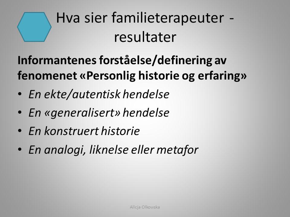 Hva sier familieterapeuter - resultater
