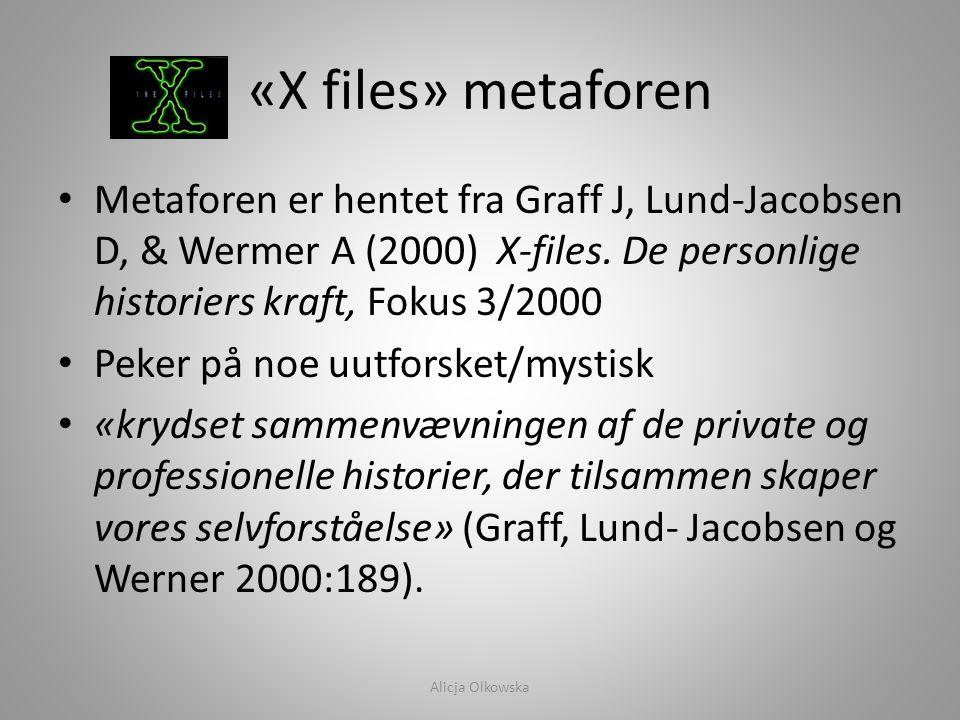 «X files» metaforen Metaforen er hentet fra Graff J, Lund-Jacobsen D, & Wermer A (2000) X-files. De personlige historiers kraft, Fokus 3/2000.