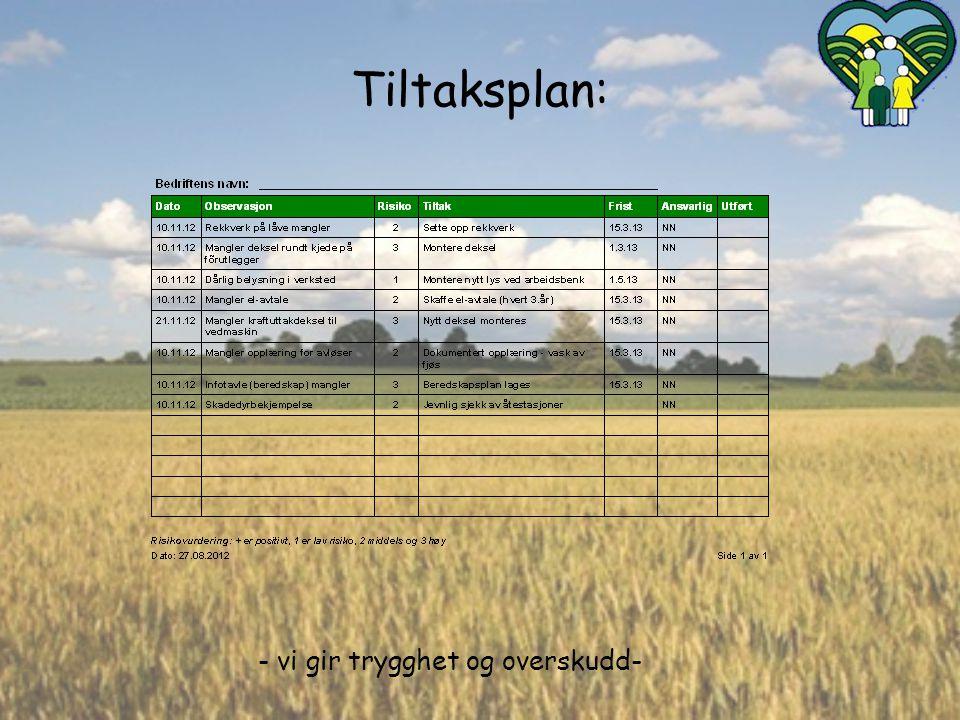 Tiltaksplan: Eksempel på tiltaksplan på et gårdsbruk