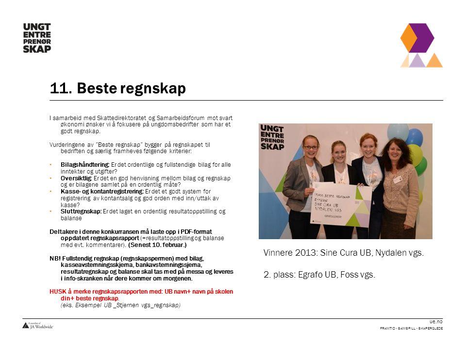 11. Beste regnskap Vinnere 2013: Sine Cura UB, Nydalen vgs.