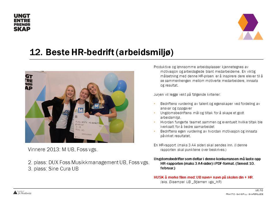 12. Beste HR-bedrift (arbeidsmiljø)