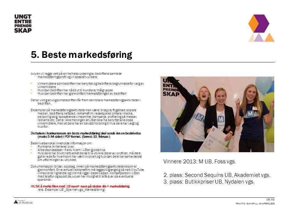 5. Beste markedsføring Vinnere 2013: M UB, Foss vgs.