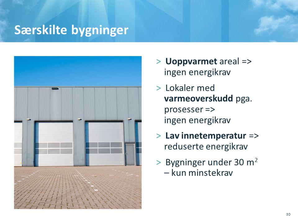 Særskilte bygninger Uoppvarmet areal => ingen energikrav