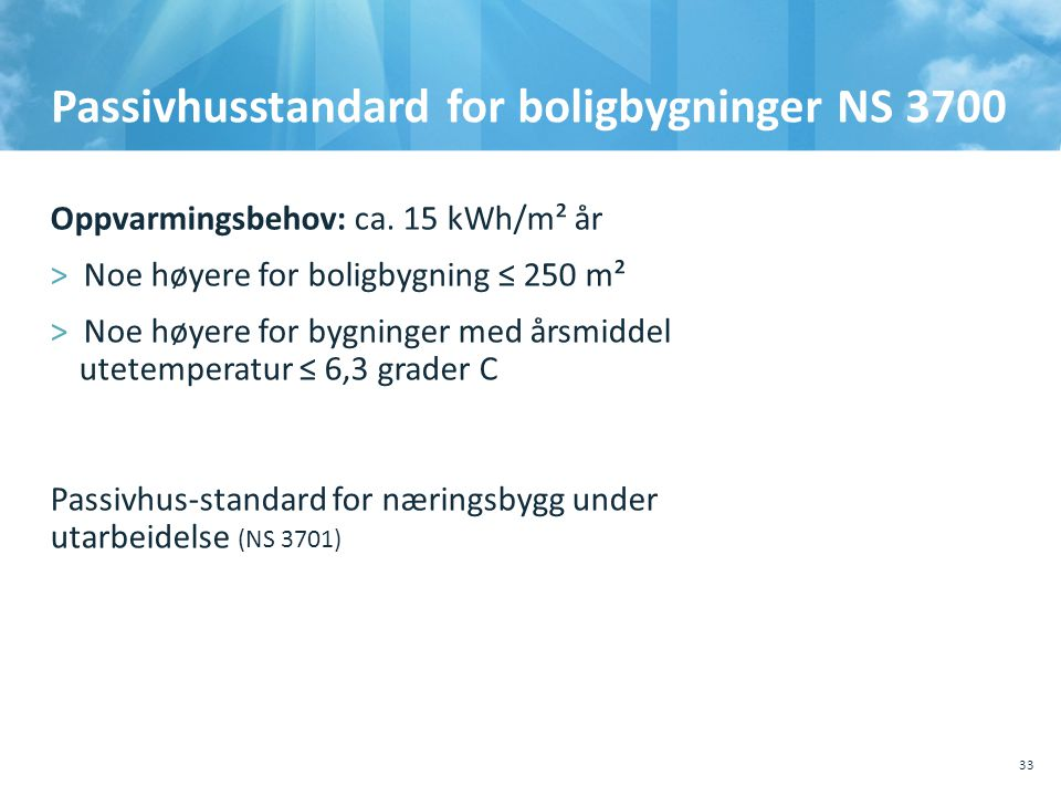 Passivhusstandard for boligbygninger NS 3700