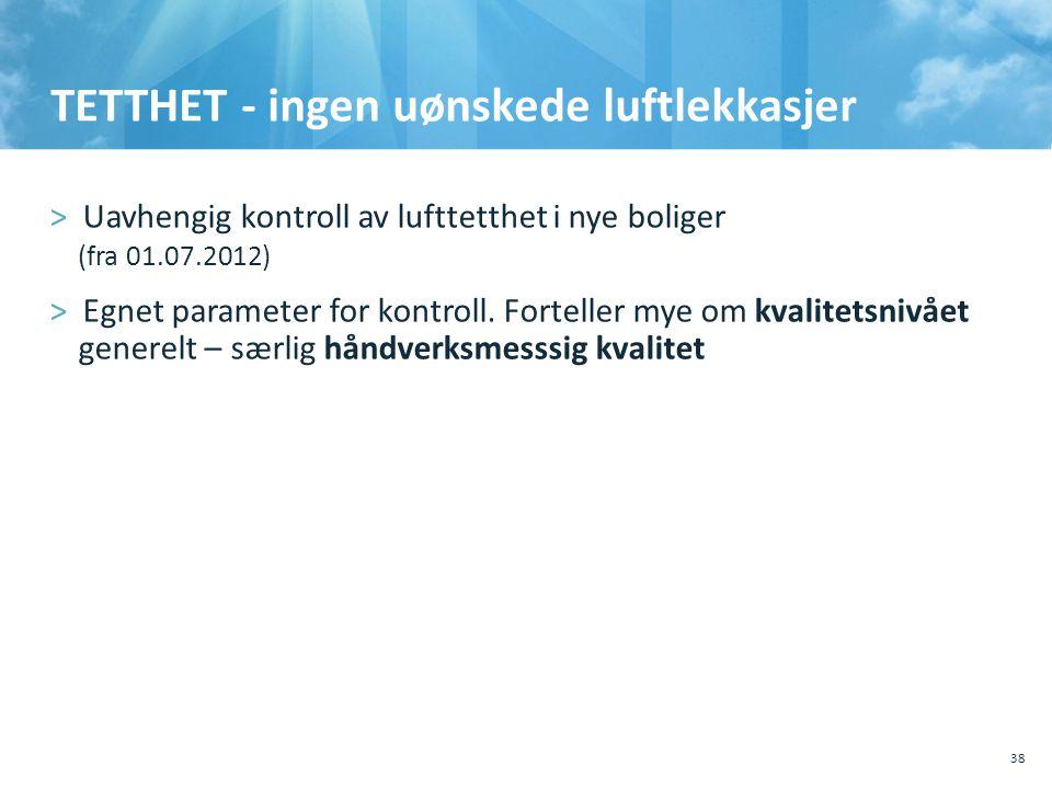 TETTHET - ingen uønskede luftlekkasjer