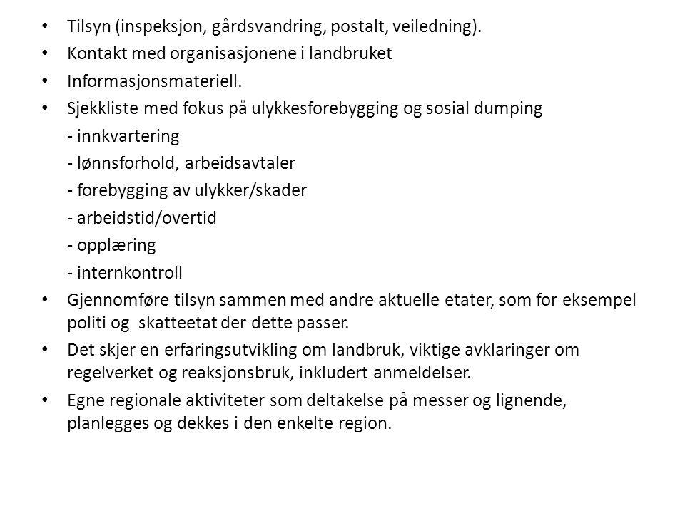 Tilsyn (inspeksjon, gårdsvandring, postalt, veiledning).