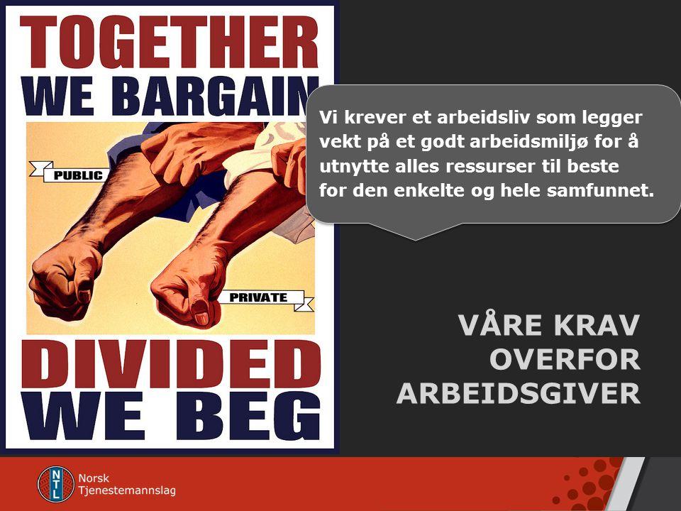 VÅRE KRAV OVERFOR ARBEIDSGIVER
