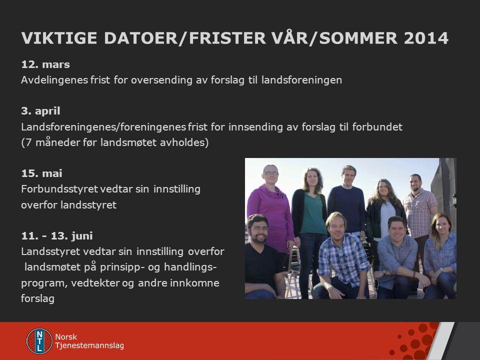 VIKTIGE DATOER/FRISTER VÅR/SOMMER 2014