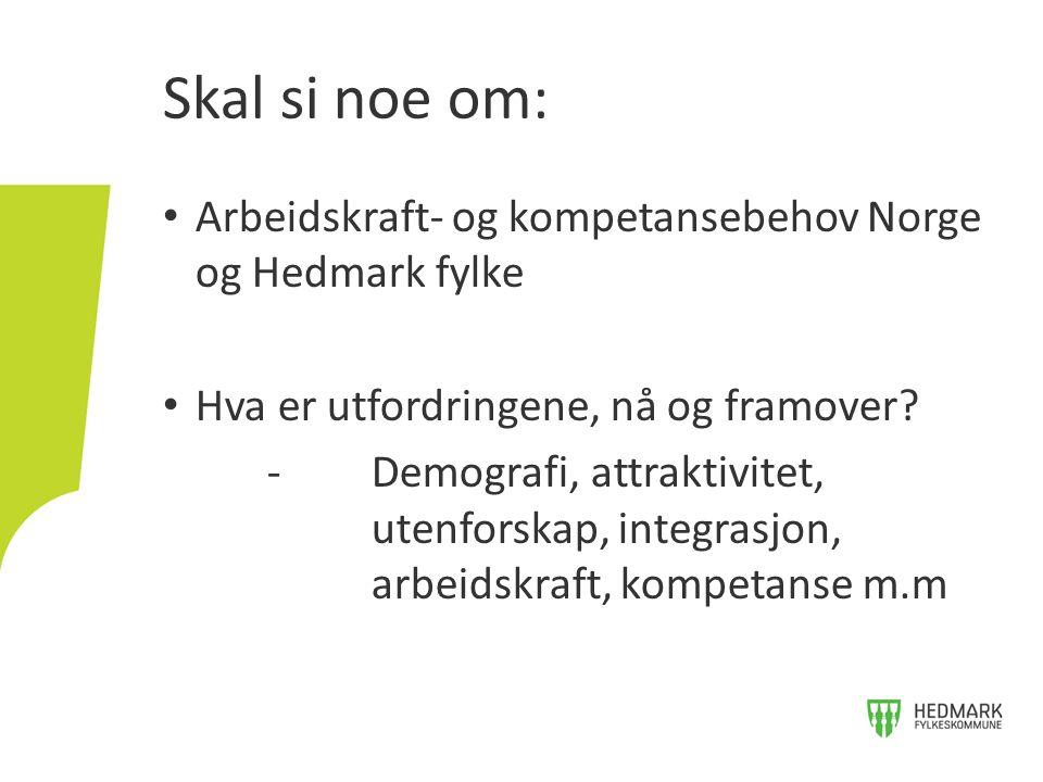 Skal si noe om: Arbeidskraft- og kompetansebehov Norge og Hedmark fylke. Hva er utfordringene, nå og framover