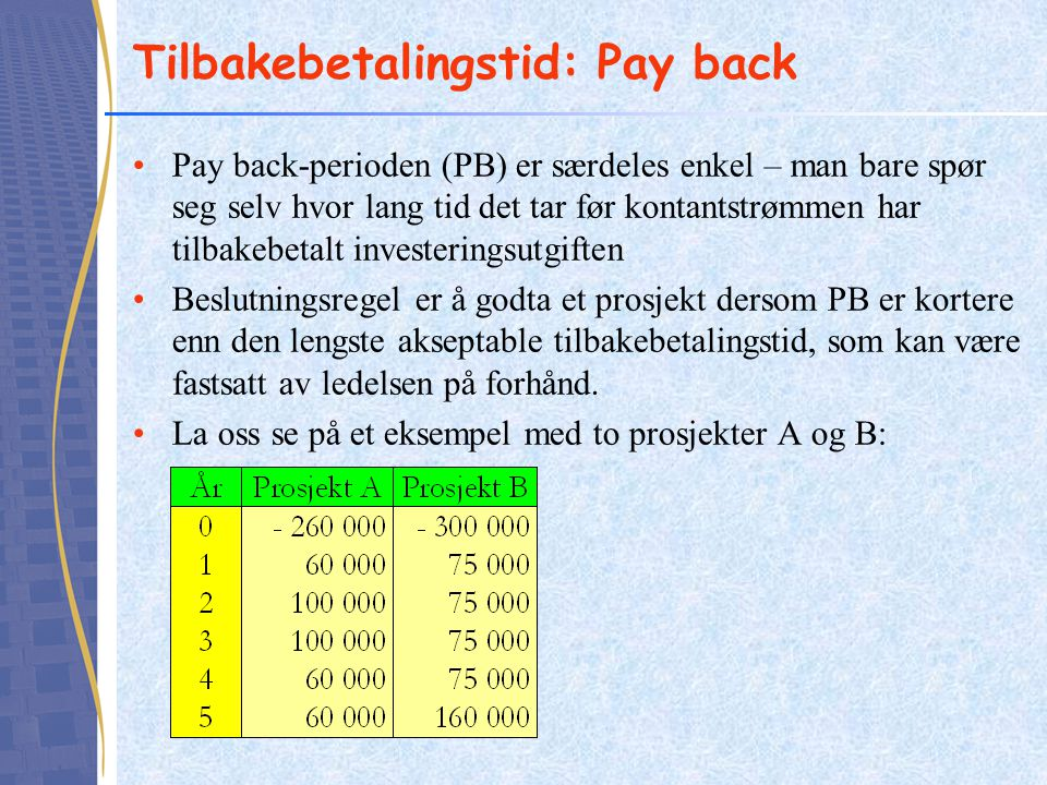 Tilbakebetalingstid: Pay back