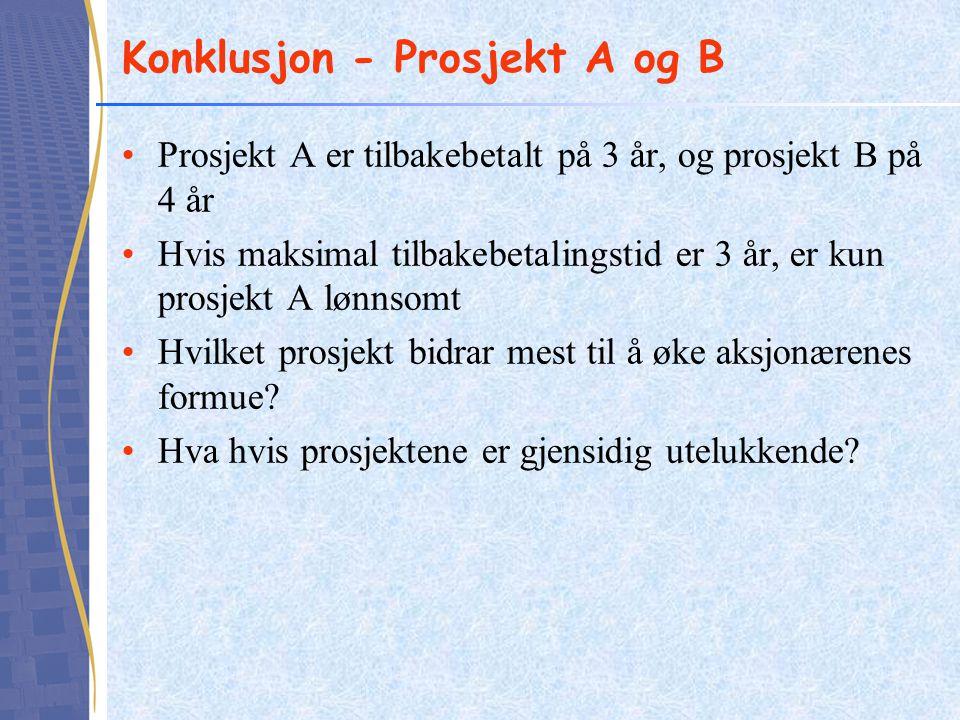 Konklusjon - Prosjekt A og B